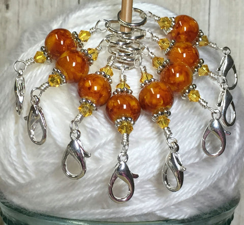 Knit AND Crochet Stitch Marker Set- Burnt Amber , Stitch Markers - Jill's Beaded Knit Bits, Jill's Beaded Knit Bits  - 3