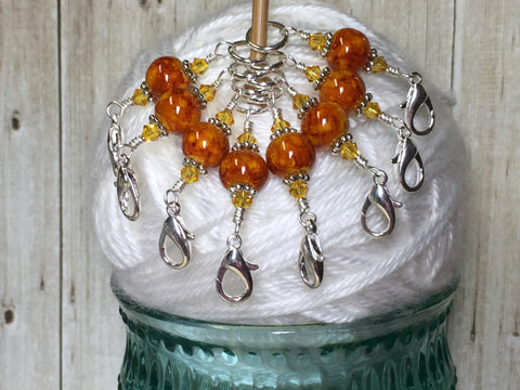 Knit AND Crochet Stitch Marker Set- Burnt Amber , Stitch Markers - Jill's Beaded Knit Bits, Jill's Beaded Knit Bits  - 7