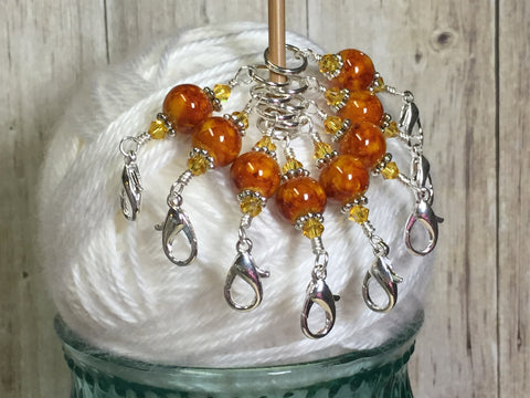 Knit AND Crochet Stitch Marker Set- Burnt Amber , Stitch Markers - Jill's Beaded Knit Bits, Jill's Beaded Knit Bits  - 10