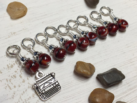 Antique Typewriter Stitch Marker Set-Red , Stitch Markers - Jill's Beaded Knit Bits, Jill's Beaded Knit Bits  - 1