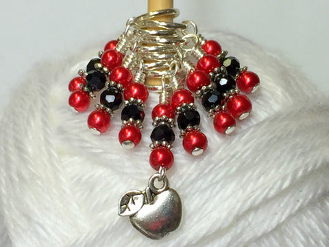 Red Apple Stitch Marker Set , Stitch Markers - Jill's Beaded Knit Bits, Jill's Beaded Knit Bits  - 1