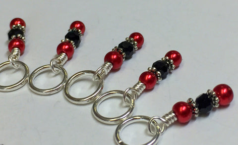 Red Apple Stitch Marker Set , Stitch Markers - Jill's Beaded Knit Bits, Jill's Beaded Knit Bits  - 3