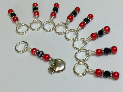 Red Apple Stitch Marker Set , Stitch Markers - Jill's Beaded Knit Bits, Jill's Beaded Knit Bits  - 2