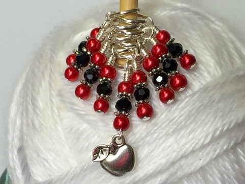 Red Apple Stitch Marker Set , Stitch Markers - Jill's Beaded Knit Bits, Jill's Beaded Knit Bits  - 8