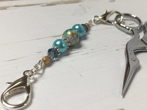 Aqua Blue Beaded Scissor Fob , accessories - Jill's Beaded Knit Bits, Jill's Beaded Knit Bits  - 1