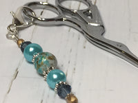 Aqua Blue Beaded Scissor Fob , accessories - Jill's Beaded Knit Bits, Jill's Beaded Knit Bits  - 5
