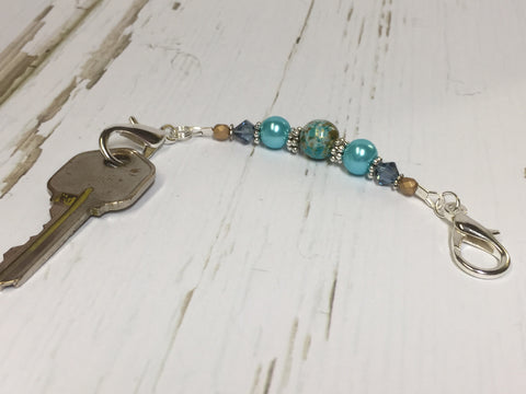 Aqua Blue Beaded Scissor Fob , accessories - Jill's Beaded Knit Bits, Jill's Beaded Knit Bits  - 3