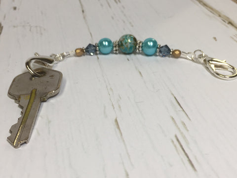 Aqua Blue Beaded Scissor Fob , accessories - Jill's Beaded Knit Bits, Jill's Beaded Knit Bits  - 8