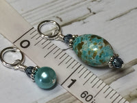Blue Splash Stitch Marker Set , Stitch Markers - Jill's Beaded Knit Bits, Jill's Beaded Knit Bits  - 7