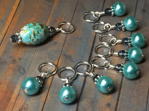 Blue Splash Stitch Marker Set , Stitch Markers - Jill's Beaded Knit Bits, Jill's Beaded Knit Bits  - 8