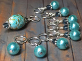 Blue Splash Stitch Marker Set , Stitch Markers - Jill's Beaded Knit Bits, Jill's Beaded Knit Bits  - 1