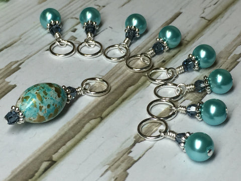 Blue Splash Stitch Marker Set , Stitch Markers - Jill's Beaded Knit Bits, Jill's Beaded Knit Bits  - 4