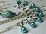 Blue Splash Stitch Marker Set , Stitch Markers - Jill's Beaded Knit Bits, Jill's Beaded Knit Bits  - 5