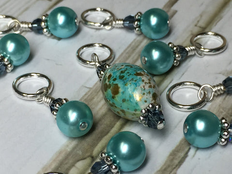 Blue Splash Stitch Marker Set , Stitch Markers - Jill's Beaded Knit Bits, Jill's Beaded Knit Bits  - 6