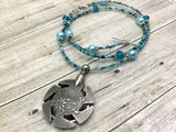 Aqua Blue Yarn Cutter Necklace