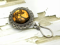 MAGNETIC Amber Tree of Life  Portuguese Knitting Pin- ID Badge Holder