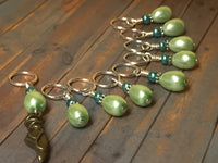 Ballet Slipper Stitch Marker Set-Green , Stitch Markers - Jill's Beaded Knit Bits, Jill's Beaded Knit Bits  - 10