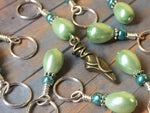 Ballet Slipper Stitch Marker Set-Green , Stitch Markers - Jill's Beaded Knit Bits, Jill's Beaded Knit Bits  - 1