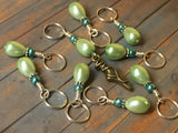 Ballet Slipper Stitch Marker Set-Green , Stitch Markers - Jill's Beaded Knit Bits, Jill's Beaded Knit Bits  - 6