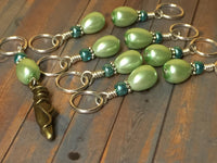 Ballet Slipper Stitch Marker Set-Green , Stitch Markers - Jill's Beaded Knit Bits, Jill's Beaded Knit Bits  - 4
