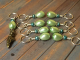 Ballet Slipper Stitch Marker Set-Green , Stitch Markers - Jill's Beaded Knit Bits, Jill's Beaded Knit Bits  - 7