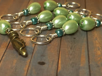 Ballet Slipper Stitch Marker Set-Green , Stitch Markers - Jill's Beaded Knit Bits, Jill's Beaded Knit Bits  - 8