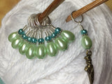 Ballet Slipper Stitch Marker Set-Green , Stitch Markers - Jill's Beaded Knit Bits, Jill's Beaded Knit Bits  - 5