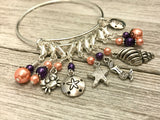 Beach Charms Stitch Marker Bracelet, Anti Tarnish Bangle