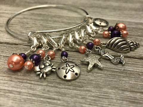 Beach Charms Stitch Marker Bracelet | Anti Tarnish Bangle | Progress Keepers