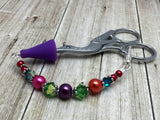 Rainbow Beaded Scissor Fob Charm Jewelry , accessories - Jill's Beaded Knit Bits, Jill's Beaded Knit Bits  - 10