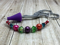 Rainbow Beaded Scissor Fob Charm Jewelry , accessories - Jill's Beaded Knit Bits, Jill's Beaded Knit Bits  - 9