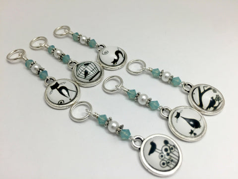 Cats and Birds Snag Free Stitch Marker Charms- Gift for Knitters , Stitch Markers - Jill's Beaded Knit Bits, Jill's Beaded Knit Bits  - 1