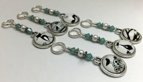 Cats and Birds Snag Free Stitch Marker Charms- Gift for Knitters , Stitch Markers - Jill's Beaded Knit Bits, Jill's Beaded Knit Bits  - 6