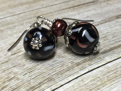 Black & Copper Glass Earrings , Stitch Markers - Jill's Beaded Knit Bits, Jill's Beaded Knit Bits  - 10
