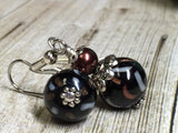 Black & Copper Glass Earrings , Stitch Markers - Jill's Beaded Knit Bits, Jill's Beaded Knit Bits  - 11