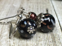 Black & Copper Glass Earrings , Stitch Markers - Jill's Beaded Knit Bits, Jill's Beaded Knit Bits  - 2