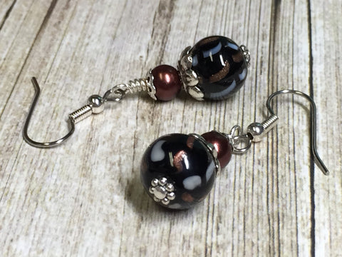 Black & Copper Glass Earrings , Stitch Markers - Jill's Beaded Knit Bits, Jill's Beaded Knit Bits  - 4