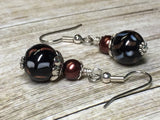 Black & Copper Glass Earrings , Stitch Markers - Jill's Beaded Knit Bits, Jill's Beaded Knit Bits  - 5