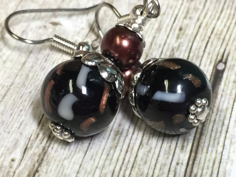 Black & Copper Glass Earrings , Stitch Markers - Jill's Beaded Knit Bits, Jill's Beaded Knit Bits  - 1