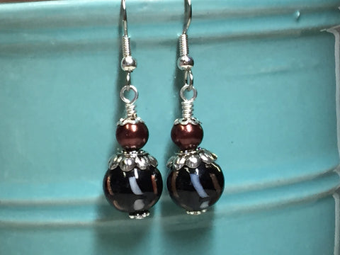 Black & Copper Glass Earrings , Stitch Markers - Jill's Beaded Knit Bits, Jill's Beaded Knit Bits  - 6