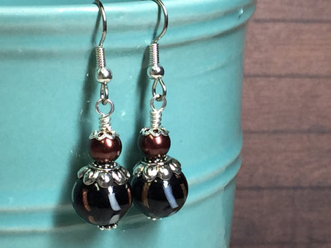 Black & Copper Glass Earrings , Stitch Markers - Jill's Beaded Knit Bits, Jill's Beaded Knit Bits  - 7