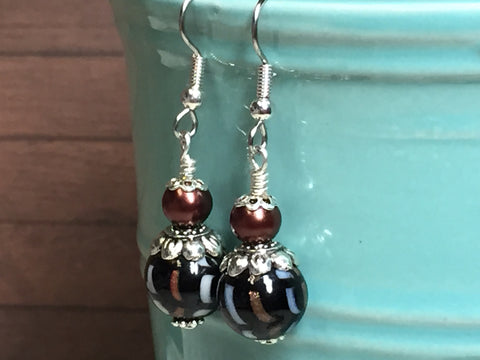 Black & Copper Glass Earrings , Stitch Markers - Jill's Beaded Knit Bits, Jill's Beaded Knit Bits  - 3