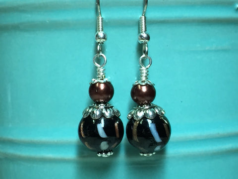 Black & Copper Glass Earrings , Stitch Markers - Jill's Beaded Knit Bits, Jill's Beaded Knit Bits  - 9
