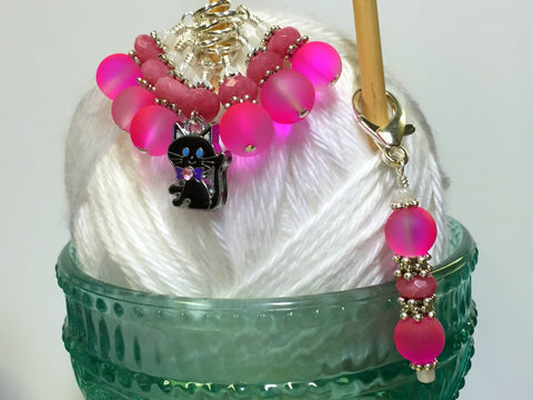 Hot Pink Cat Stitch Marker Charm Holder Set , Stitch Markers - Jill's Beaded Knit Bits, Jill's Beaded Knit Bits  - 8