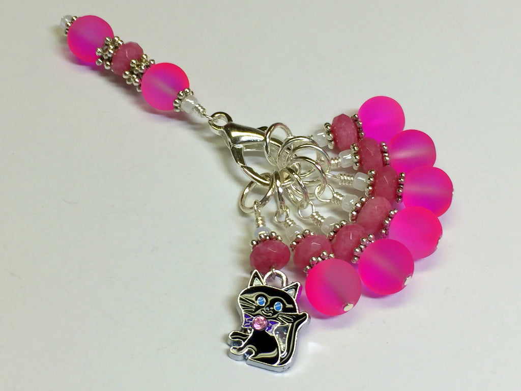 Hot Pink Cat Stitch Marker Charm Holder Set , Stitch Markers - Jill's Beaded Knit Bits, Jill's Beaded Knit Bits  - 1