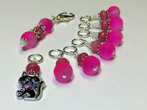 Hot Pink Cat Stitch Marker Charm Holder Set , Stitch Markers - Jill's Beaded Knit Bits, Jill's Beaded Knit Bits  - 4