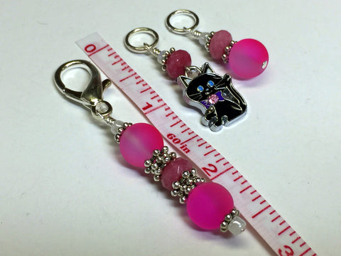 Hot Pink Cat Stitch Marker Charm Holder Set , Stitch Markers - Jill's Beaded Knit Bits, Jill's Beaded Knit Bits  - 6