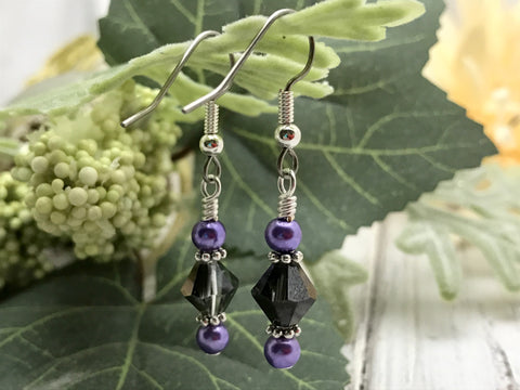 Black crystal & Purple Glass Pearl Earrings
