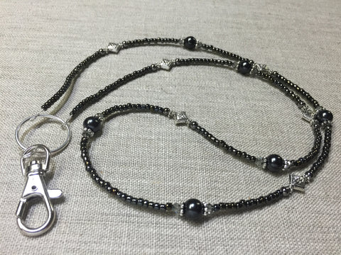 Black & Silver ID Badge Lanyard , Stitch Markers - Jill's Beaded Knit Bits, Jill's Beaded Knit Bits  - 1