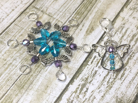 Angel Stitch Marker Holder with 6 Blue Angel Stitch Markers